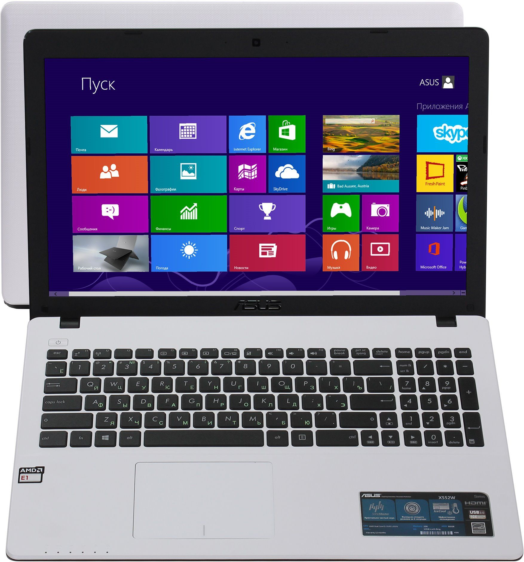 "ASUS X552Wa E1-2100/2G/500G/15,6""HD /HD 8210 /WiFi/Cam/BT/Win 8 Bing"