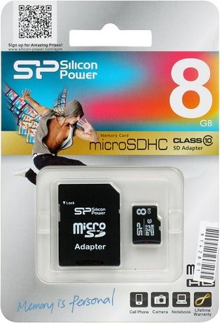 Silicon Power microSDHC 8Gb сlass 10+ ad.SD