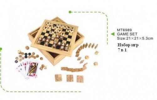 Купить Нескучные игры Набор настольных игр 7 в 1 (домино, кости, нарды, шашки, шахматы, игральные карты, микадо) в интернет магазине. Цены, фото, описания, характеристики, отзывы, обзоры