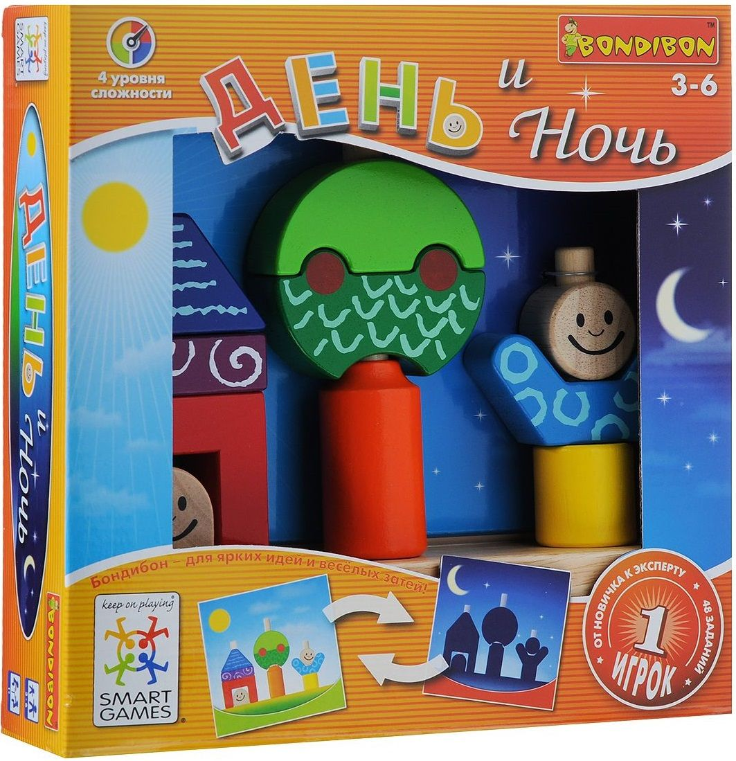 Купить Логическая игра День и Ночь , Настольные игры для детей Bondibon, Логические игры
