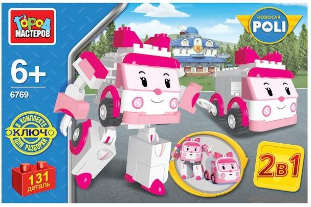 Купить Конструктор 2 в 1 Robocar Poli. Робот-девочка 131 деталь, Город мастеров, Пластмассовый