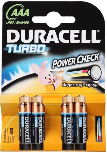 Duracell Батарейки AAА Turbo, 4 шт. (LR03-MN2400 4BL)